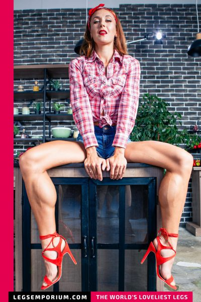 Tera - Quads, Calves, Jeans Shorts and Strappy Stilettos b-COVER