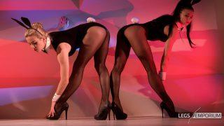 Anastasia & Kaylee - Stockings Covered Leggy Bunny Show - 4K_0