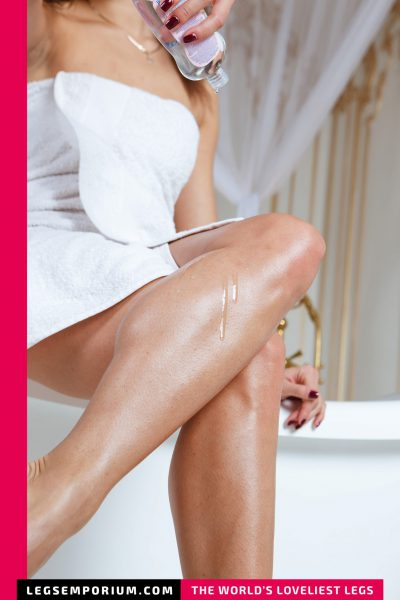 Elena - Bathtub, Towel, and Lotioned Legs Goddess b-COVER